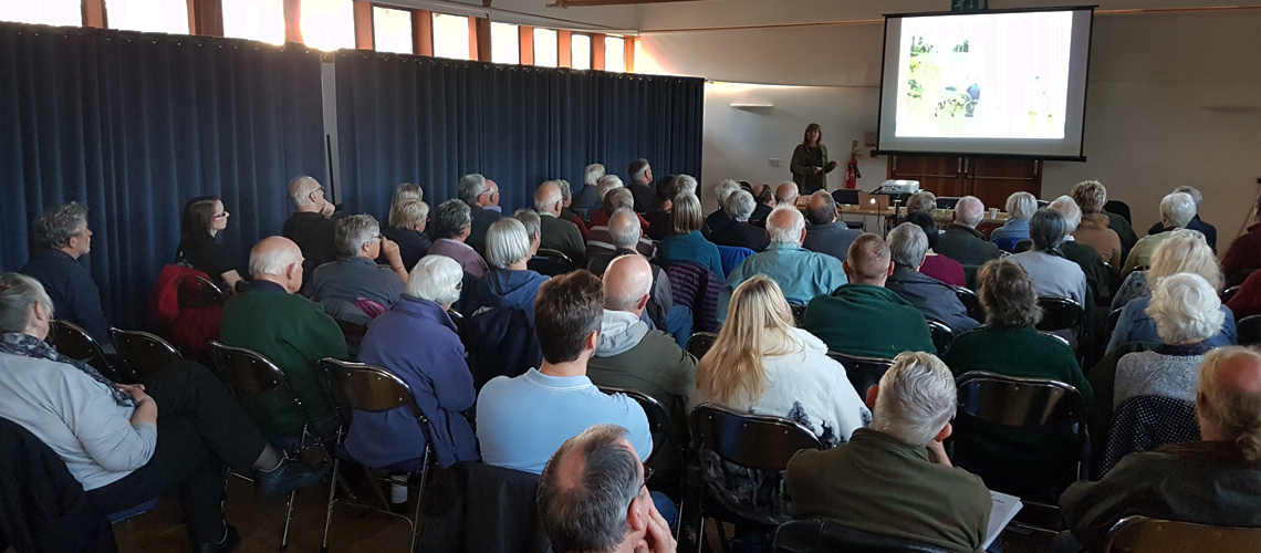 Jenny Joy talks about partnership work with the Forestry Commission at the Warwickshire Branch AGM in 2017. © 2019 Steven Cheshire.