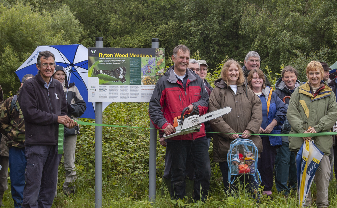 Dr Martin Warren, Chief Executive of Butterfly Conservation and Mike Slater, Reserve Manager declare Ryton Wood Meadows Butterfly Reserve open.