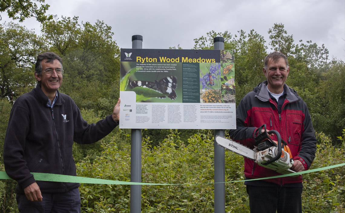Ryton Wood Meadows Butterfly Reserve was officially opened on the 28th May 2007 by Dr Martin Warren, Chief Executive of Butterfly Conservation and Mike Slater, Reserve Manager.